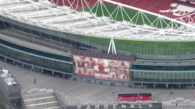 exterior aerial views of the emirates stadium, arsenal football club's ground, after professional football was suspended until april on 13 march 2020... - stadium stock videos & royalty-free footage