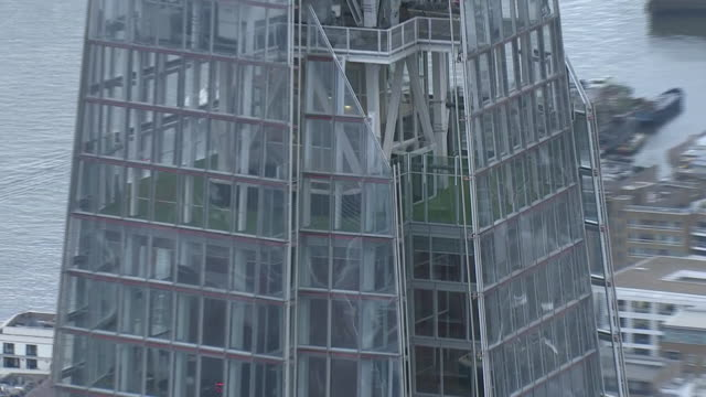 exterior aerial views of the shard building including empty viewing galleries during the covid19 outbreak as london streets remain largely deserted... - absence stock videos & royalty-free footage