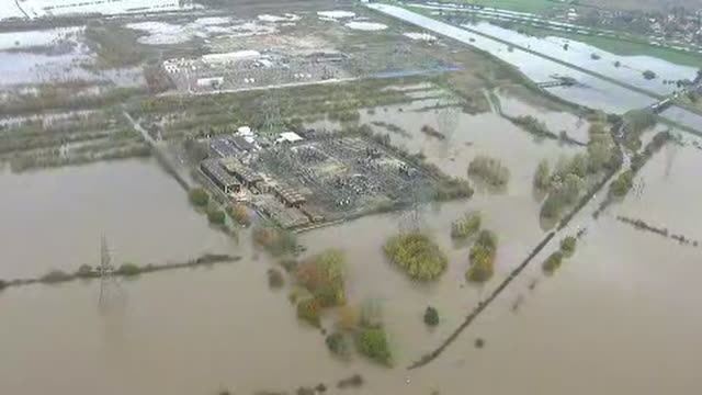 exterior aerials of a sub station submerged in water and areas affected by extreme flooding on 13 november 2019 in lincolnshire united kingdom - lincolnshire stock videos & royalty-free footage
