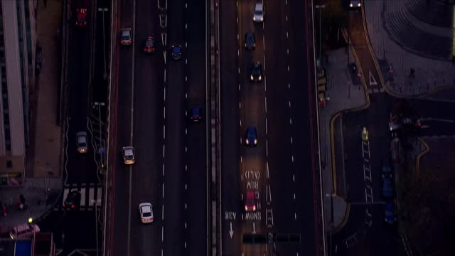 exterior aerials of vehicles driving along duel carriageway road - birmingham england stock videos & royalty-free footage