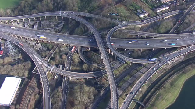 exterior aerials shots of a spaghetti junction 28th january 2020 in birmingham england - motorway junction stock videos & royalty-free footage
