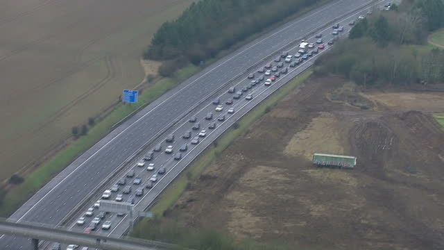 Exterior aerials showing traffic jam on the M40 motorway on February 14 2015 in Bicester Oxfordshire England