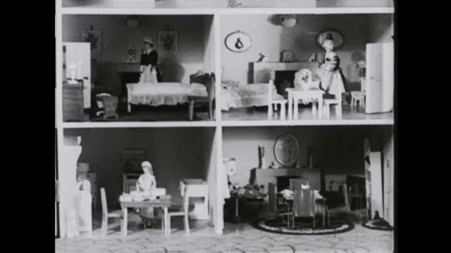 1939 exterior and interior of doll's house - dollhouse stock videos & royalty-free footage