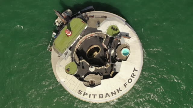 exterior and interior of spitbank fort in the solent, off the coast of portsmouth, a boutique hotel that was once a fort - solitude stock videos & royalty-free footage