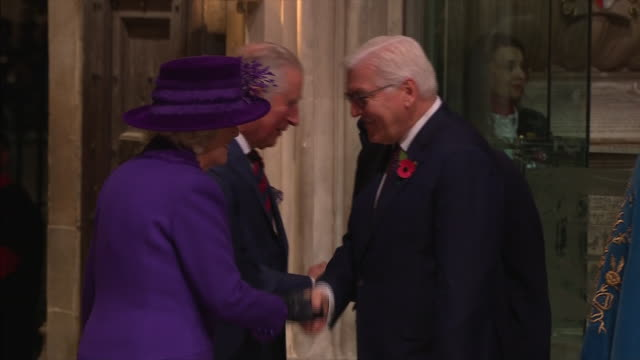 exterior and interior shots german president frankwalter steinmeier and elke budenbender attend the centenary of the armistice service at westminster... - armistice stock videos and b-roll footage