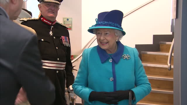 exterior and interior shots hm queen elizabeth ii and prince philip duke of edinburgh arriving at national memorial to the few museum meeting people... - prinz michael von kent stock-videos und b-roll-filmmaterial