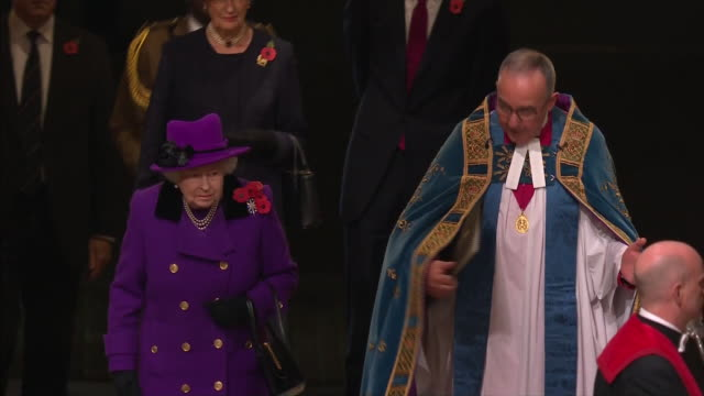 exterior and interior shots hm queen elizabeth ii attend the centenary of the armistice service at westminster abbey on november 11 2018 in london... - armistice stock videos and b-roll footage