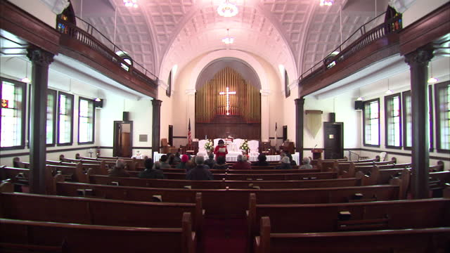 exterior and interior shots of an africanamerican tour group visiting the brown chapel in selma and listening to a guide speak about the history of... - chapel stock videos & royalty-free footage