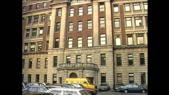 exterior and interior shots of britain's first purpose-built hospital ward for aids patients at middlesex hospital prior to opening; 1987. - patient stock videos & royalty-free footage