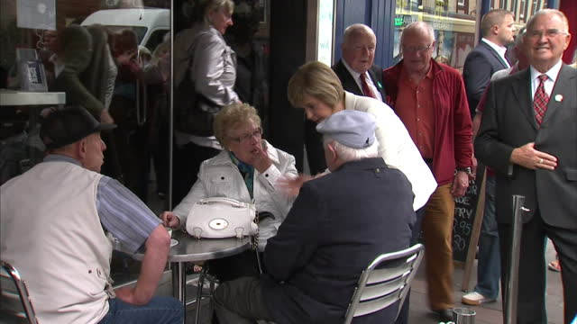 exterior and interior shots of deputy first minister nicola sturgeon campaigning for the yes vote for scottish independence meeting potential voters... - yes single word stock videos & royalty-free footage