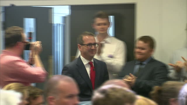 exterior and interior shots owen smith mp labour leadership candidate arriving at campaign event on august 08 2016 in newcastle upon tyne england - owen smith politician stock videos & royalty-free footage
