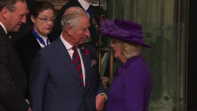 exterior and interior shots prince charles prince of wales camilla duchess of cornwall attend the centenary of the armistice service at westminster... - armistice stock videos and b-roll footage