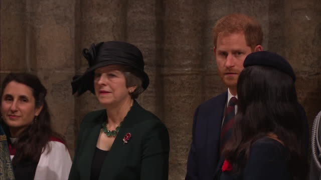 stockvideo's en b-roll-footage met exterior and interior shots prince harry, duke of sussex and meghan, duchess of sussex attend the centenary of the armistice service at westminster... - westminster abbey