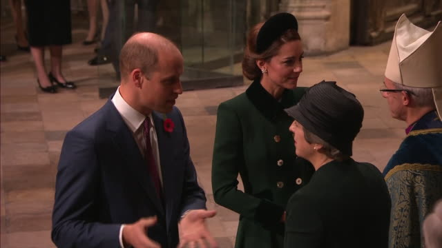 exterior and interior shots prince william, duke of cambridge, catherine duchess of cambridge attend the centenary of the armistice service at... - armistice stock videos & royalty-free footage