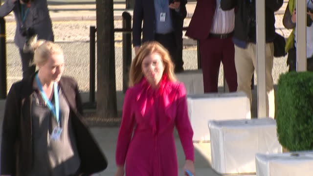 exterior and interior views of boris johnson's partner carrie symonds arriving and walking into the conference centre on 2 october 2019 in manchester... - convention stock videos & royalty-free footage