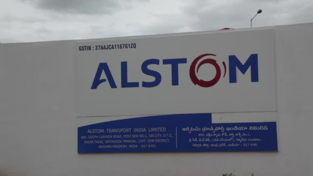 exterior and logo of alstom transport india limited in sricity adhra pradeshindia on monday august2018 - august stock videos & royalty-free footage