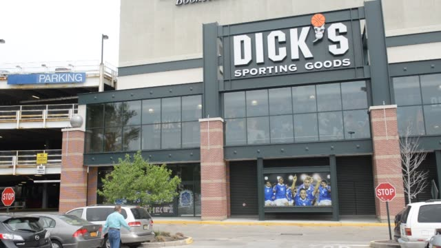 Exterior and signage shots of a Dicks Sporting Goods store in West Nyack New York Interior shots pan across a selection of hockey and soccer athletic...