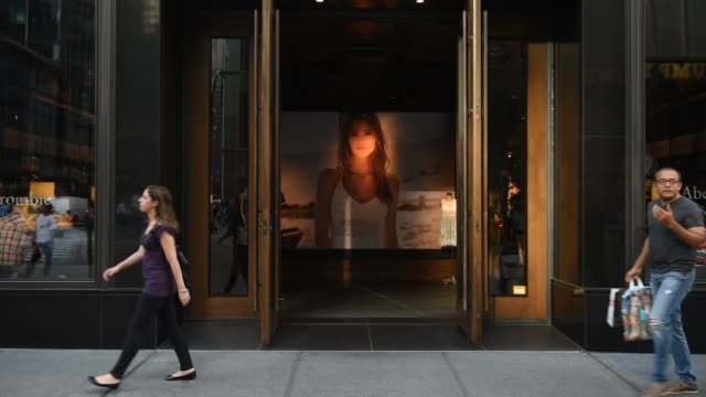 exterior and signage shots of abercrombie and fitchs fifth avenue store in midtown manhattan shot on may 26 2015 shots close up shot of shoppers... - waist stock videos & royalty-free footage
