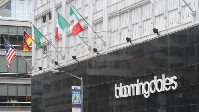 exterior and signage shots of bloomingdales in new york ny shots focus on the entrance to the bloomingdale's department store on third avenue between... - bloomingdales stock videos & royalty-free footage