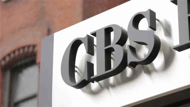 exterior and signage shots of cbs broadcast center at 524 w 57th st, in new york, ny on a snowy monday february 15th, 2016 photographer: ara ayer,... - headquarters stock videos & royalty-free footage