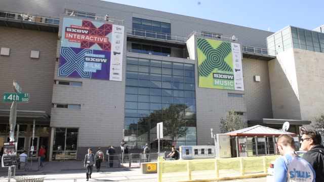Exterior and signage shots of the Austin Convention Center with signage for the South By Southwest Interactive Festival in Austin Texas US