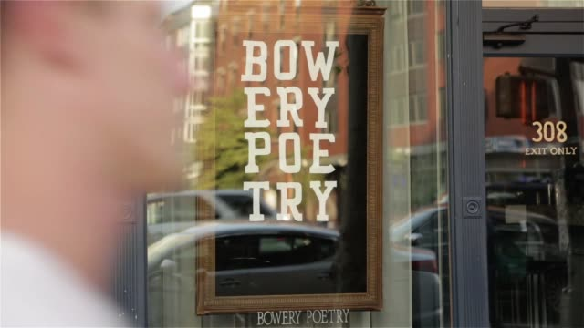 exterior and signage shots of the bowery poetry venue in the bowery neighborhood of lower manhattan new york new york on june 17th 2015 shots... - poetry stock videos & royalty-free footage