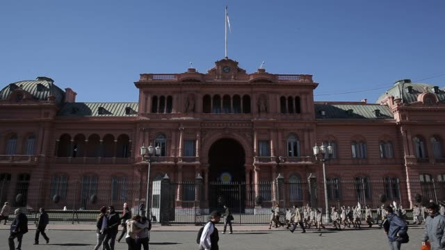 Exterior and signage shots of the Government House also known as the Casa Rosada where the President has her offices in Buenos Aires Argentina