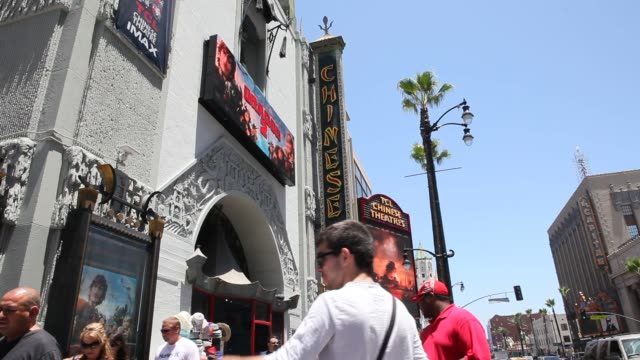 exterior and signage shots of the tcl chinese theatre in hollywood, los angeles, california, close up shots of the signage above the marquee reading... - tcl chinese theatre stock videos & royalty-free footage