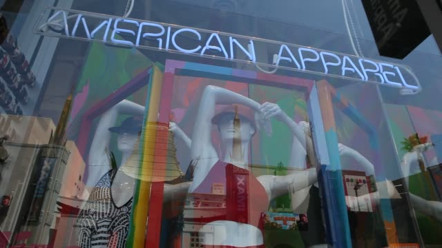 exterior and signage shots of window displays outside of an american apparel inc store on hollywood blvd hollywood california shots of american... - window display stock videos and b-roll footage