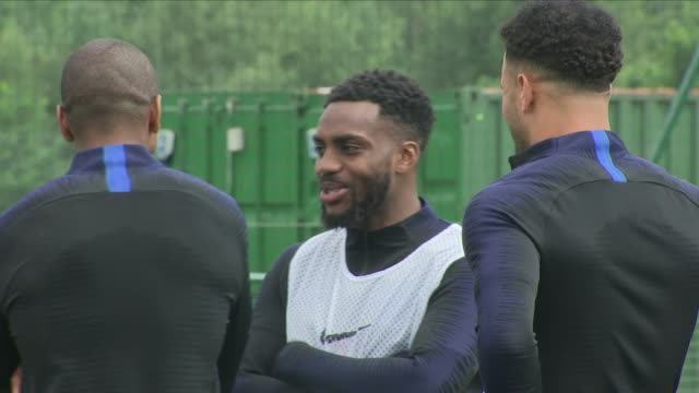 exterior close up shots of england players stood on a training pitch and talking before their training session ahead of the 2018 fifa world cup... - harry kane soccer player stock videos & royalty-free footage