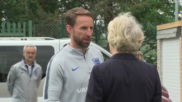 Exterior close up shots of Gareth Southgate arriving and meeting officials including the Mayor and Mayoress of Leeds Graham Latty and Pat including...