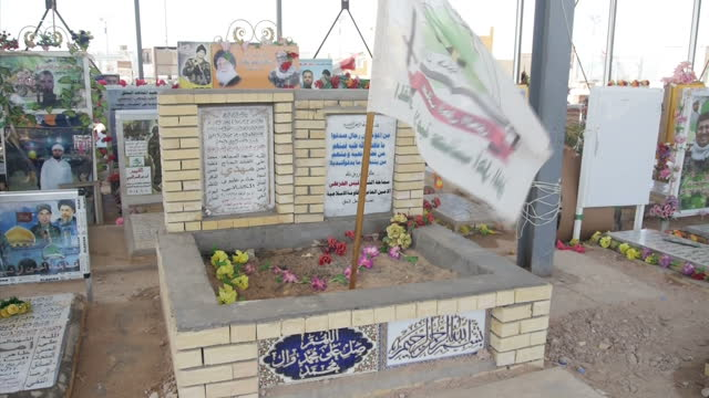 exterior close up shots of gravestones of shia muslim fighters on march 21 2015 in najaf iraq - najaf video stock e b–roll