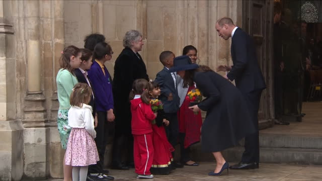 exterior close up shots of pregnant kate middleton and prince william meeting children after the commonwealth day service outside westminster abbey... - kate snow stock videos & royalty-free footage