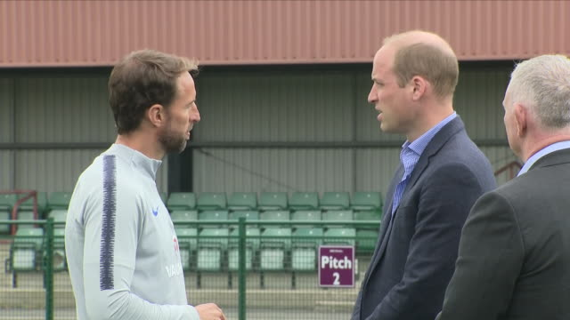 Exterior close up shots of The Duke of Cambridge Prince William speaking to the England Manager Gareth Southgate as the England team begin training...
