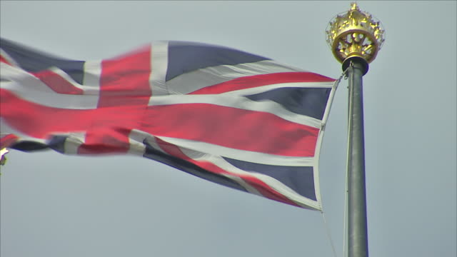 Exterior close up shots of the Union Jack flag fluttering in the wind including close up shots of The House of Parliament on 10th June 2018 in...