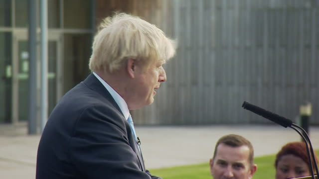 stockvideo's en b-roll-footage met exterior cut away views of prime minister boris johnson speaking at a police training centre on 5 september 2019 in wakefield, united kingdom - clean