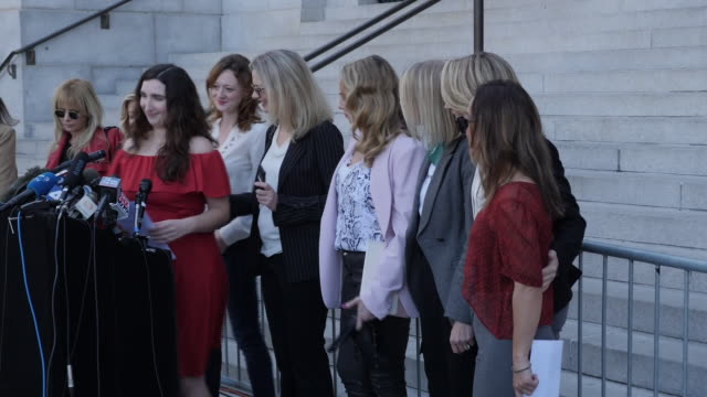 exterior cutaway views of the silence breakers, accusers of harvey weinstein holding a press conference outside los angeles city hall on 25 february... - rosanna arquette stock videos & royalty-free footage