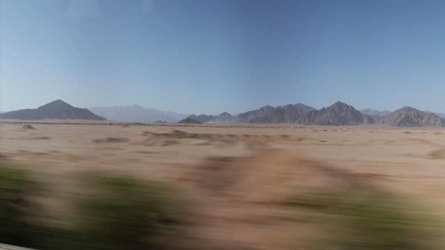 Exterior driving shots alongside the Sinai mountains outside Sharm el Sheikh on November 05 2015 in Sharm ash Shaykh Egypt
