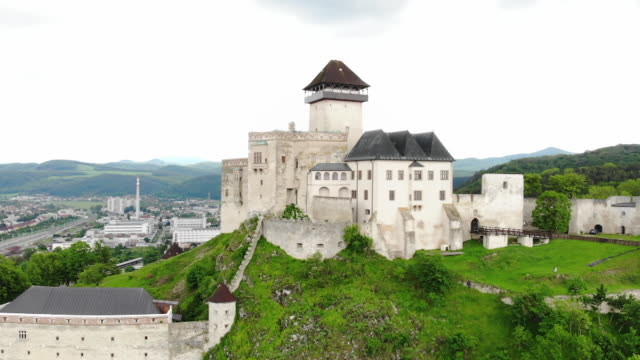 Exterior drone aerial shots of Bratislava Castle on 23 May 2019 in Bratislava Slovakia
