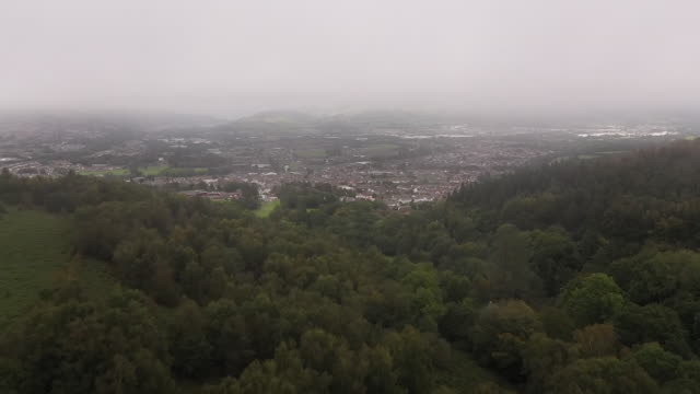 exterior drone aerial shots of caerphilly town and golf course on 8 september 2020 in caerphilly, wales, united kingdom - town stock videos & royalty-free footage