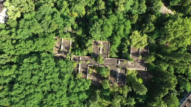 vidéos et rushes de exterior drone aerial shots of decaying, derelict residential buildings on 18 june 2019 in pripyat, ukraine - ukraine