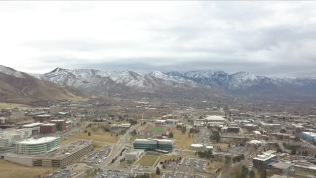 Exterior drone aerial shots of Salt Lake City with the Wasatch Mountains behind on 17 January 2018 in Salt Lake City Utah