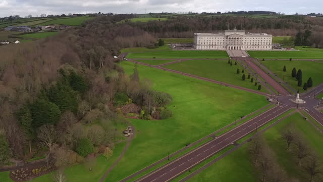 exterior drone aerial shots of the stormont parliament buildings the seat of the northern ireland assembly on 23 february 2017 in belfast northern... - ストーモント点の映像素材/bロール