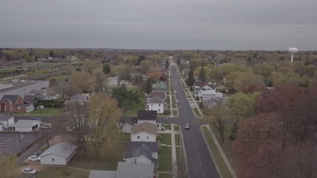 exterior drone aerial shots over rural wisconsin including green bay town centre a church and cars on roads on 8 november 2017 in green bay wisconsin - rural scene stock videos & royalty-free footage