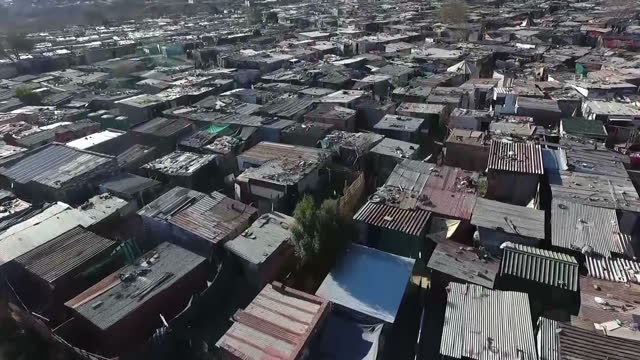 Exterior drone aerial shots over township shacks in Diepsloot on August 22 2016 in Diepsloot South Africa