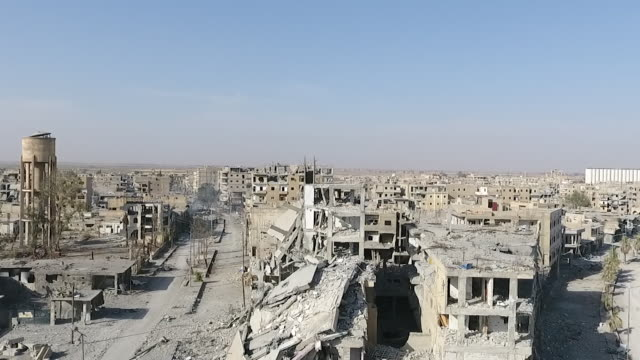 exterior drone aerial view of the city of raqqa, showing the complete devastation of all the buildings, includes a circular 360' pan view of the... - 360 stock videos & royalty-free footage