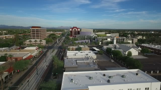 exterior drone aerials of the downtown area of mesa az on 4 november 2016 in mesa arizona united states - mesa stock videos and b-roll footage