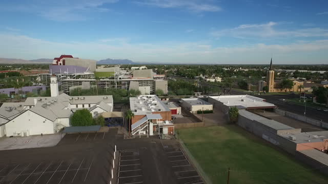 Exterior drone aerials of the downtown area of Mesa AZ on 4 November 2016 in Mesa Arizona United States