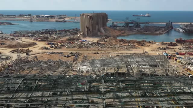 exterior drone shots of aftermath of beirut port blast explosion site on 12 august 2020 in beirut, lebanon. - destruction stock videos & royalty-free footage