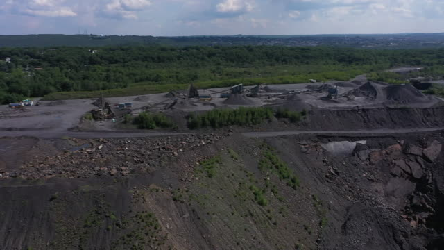 exterior drone shots of coal mine and mining equipment on the 5th july 2020 in lattimer, pennsylvania, united states - coal mine stock videos & royalty-free footage